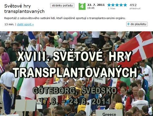 reportáž České televize ze Světových her transplantovaných v Goteborgu